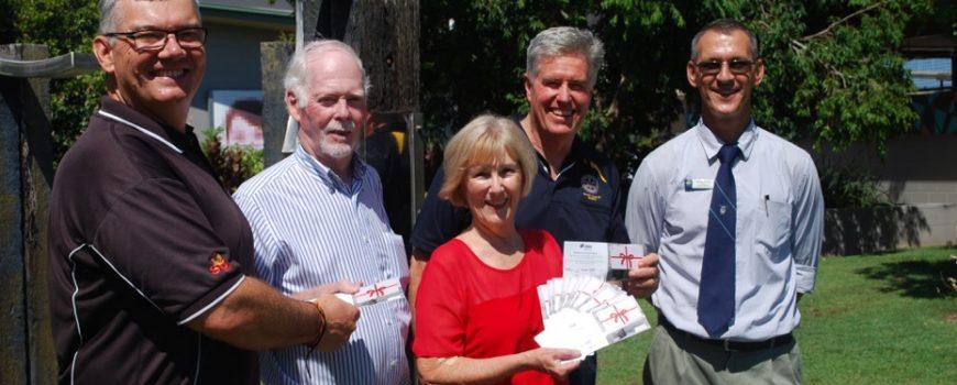 Buderim Foundation school vouchers 3- Shane Brigg, Brian McBride, Roz Bull, Lloyd Edwards & Jayme Field